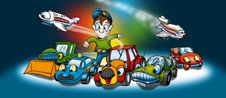 transportation cartoon: Transportation - Cartoon Background Illustration, Bitmap