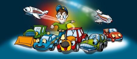 bitmap: Transportation - Cartoon Background Illustration, Bitmap
