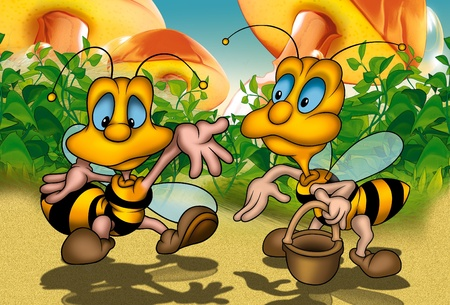 pollinator: Two Bees - Cartoon Background Illustration, Bitmap