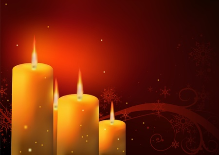 candle flame: Christmas Background - Candles and Floral, illustration