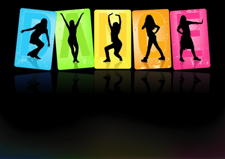 dance pose: Dancing Girls - Background illustration