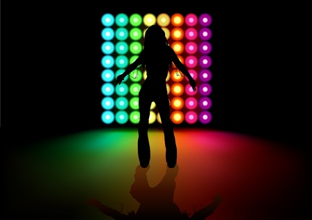 Dancing Girl and Light Effects - Background illustration 矢量图像