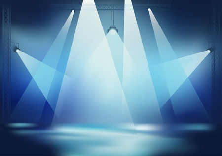 spotlight on stage: Stage Light - Background for Dance Party Wallpaper, Vector Illustration