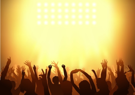 concert audience: Crowd dancing on a party - background illustration, Vector