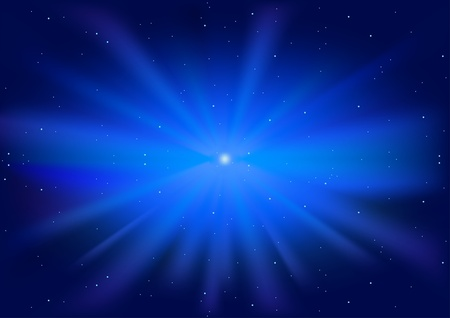 sunburst: Blue Glowing Star - starburst in shades of blue with a glowing centre, Vector