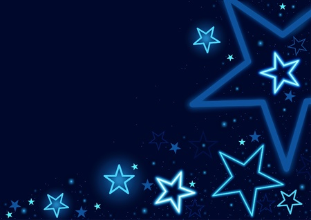 neon party: Blue Stars Background - Abstract illustrazione.