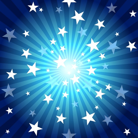 Sun Rays and Stars - Blue Abstract Background Illustration. Vector
