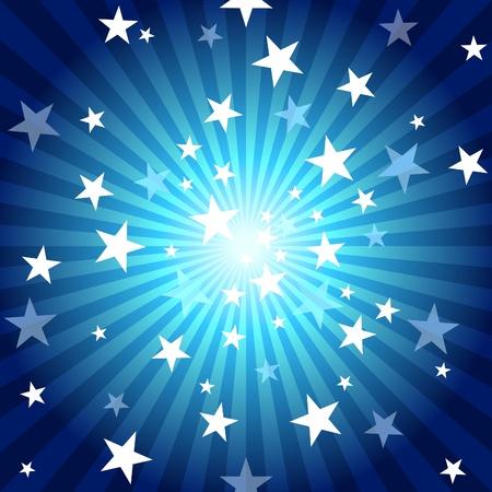 Zon Stralen en Stars - Blue abstracte achtergrond afbeelding. Vector Illustratie