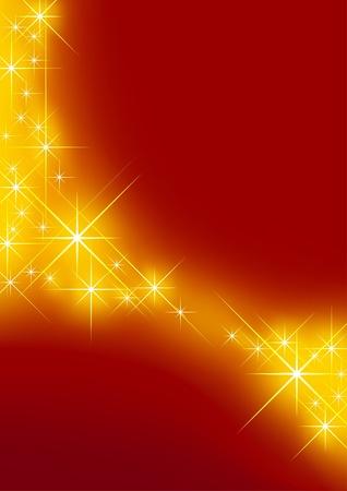 Fondo estrellado - fondo rojo y estrellas como ilustración vectorial