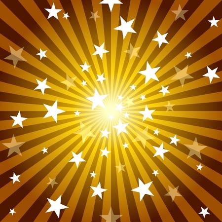 rayos de sol: Los rayos del sol y las estrellas - ilustración de fondo abstracto, Vector