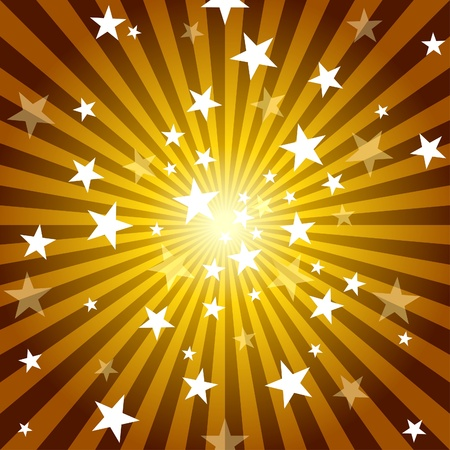 Sun Rays and Stars - Abstract Background Illustration, Vector Vector