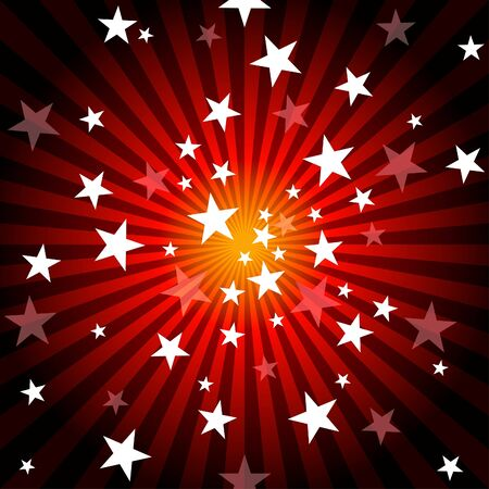 Sun Rays and Stars - Red Abstract Background Illustration, Vector