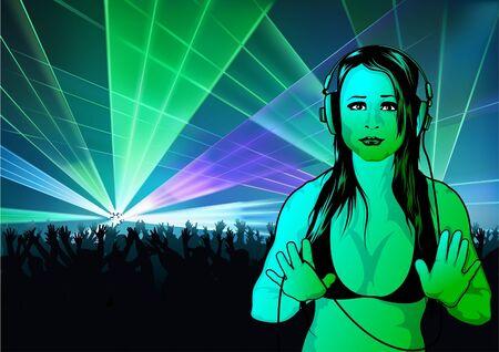 dee jay: Girl DJ and Laser Show - Illustration Illustration