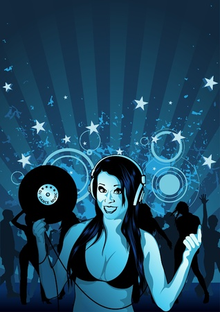 Girl DJ and Grunge Background - Illustration, Vector Stock Vector - 10884448