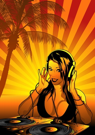 Girl DJ - Striped Background and Gramophones, Vector Vector