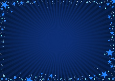 Star Frame - blue background with blue stars and stripes. Stock Vector - 10993169