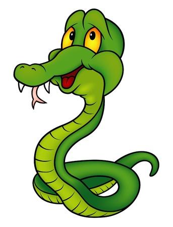 serpiente caricatura: Verde Smiling serpiente - ilustraci�n de color de dibujos animados.