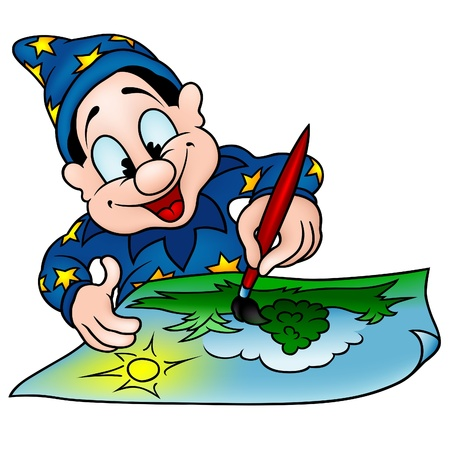 Wizard Painter - colored cartoon illustration. Vector