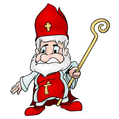 cross cut: Saint Nicholas - colored cartoon illustration. Illustration