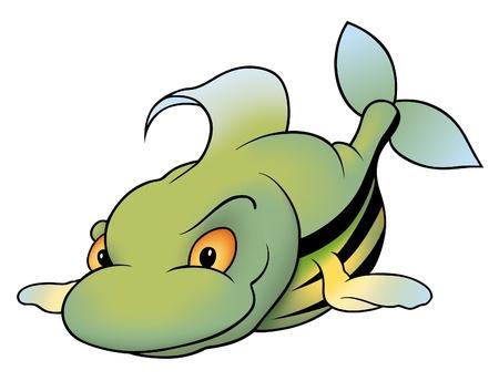 Striped Fish - cartoon illustration Vector