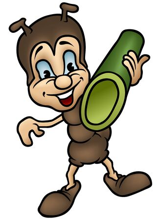 carries: Ant Carries Stalk - Colored cartoon illustration, Vector Illustration