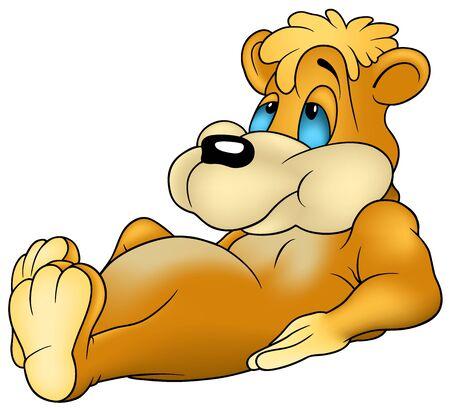 dreamy: Relaxing Bear - Cartoon illustration, Vector