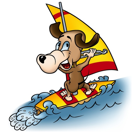 wind surf: Windsurf perro - ilustraci�n de dibujos animados, vector