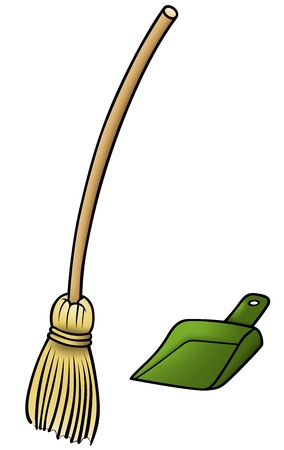 sweeping: Broom and Scoop - Cartoon Illustration,