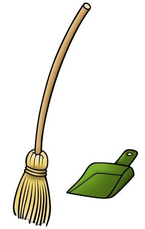 sweep: Broom and Scoop - Cartoon Illustration,