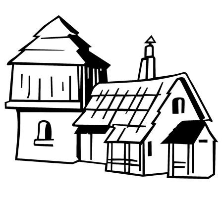 Village house - Black and White Cartoon Illustration, Stock Vector - 12483338