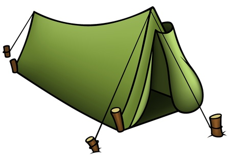 camping: Tenda - Illustrazione Cartoon colorato,