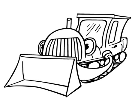 earth mover: Bulldozer - Black and White Cartoon Illustration,  Illustration