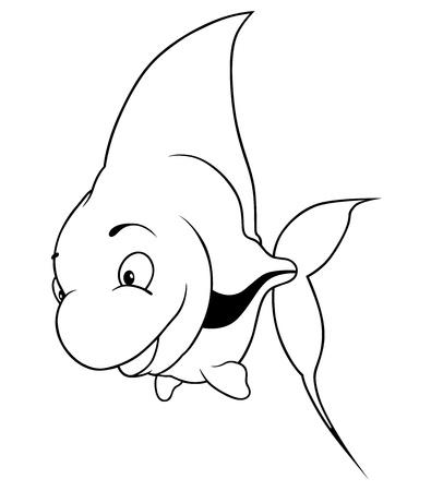 Scalar Fish - Black and white cartoon illustration, Stock Vector - 12483348