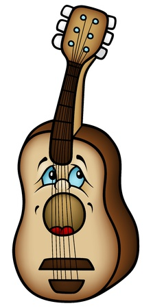 Acoustic Guitar - Colored Cartoon Illustration,