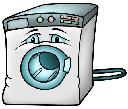 Wasmachine - Gekleurde Cartoon Illustratie,