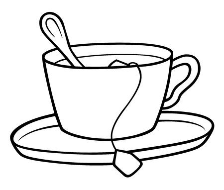 cup and saucer: Tea Cup - Black and White Cartoon illustration,