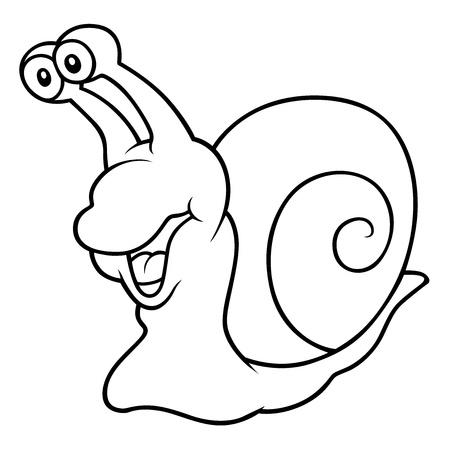 caricaturas de animales: Caracol - Negro y la ilustración de dibujos animados de blanco,
