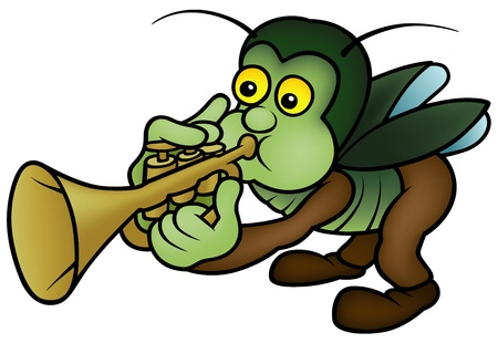 trumpet isolated: Bug and Trumpet - Cartoon Illustration,  Illustration