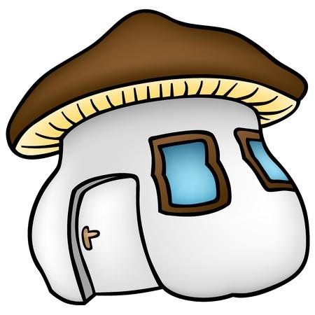 Mushroom House - Cartoon Illustration,  Vector