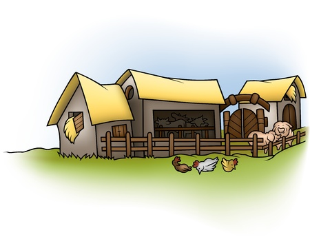 Farm - Cartoon Background Illustration,  Vector