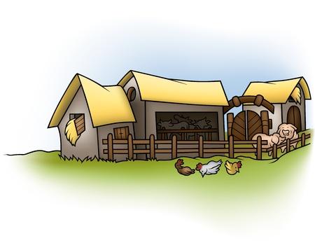 farmstead: Farm - Cartoon Background Illustration,