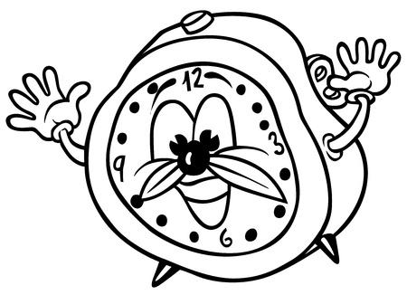 Alarm Clock - Ilustración de dibujos animados Blanco y Negro,