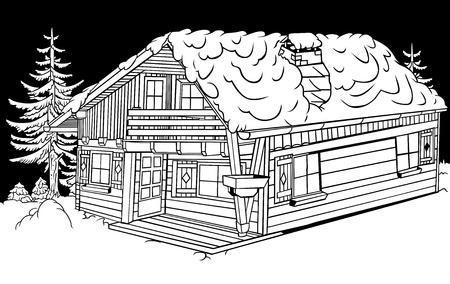 cabin: Snow Cabin - Black and White Cartoon Illustration,  Illustration