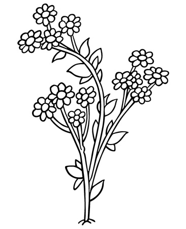 tuft: Flowers - Black and White Cartoon Illustration,