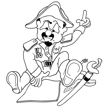 General - Black and White Cartoon Illustration,  Vector