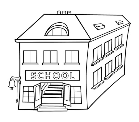 School - Black and White Cartoon illustration, Stock Vector - 12483959