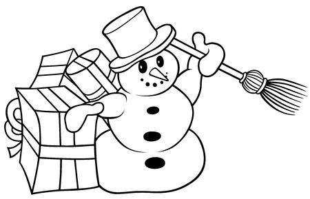 Snowman - Black and White Cartoon Illustration,  Vector