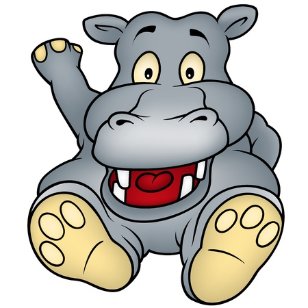 hippo cartoon: Sitting Hippo - Cartoon Illustration,  Illustration