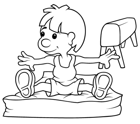 educacion fisica: Gimnasta - Ilustración de dibujos animados Blanco y Negro, Vectores