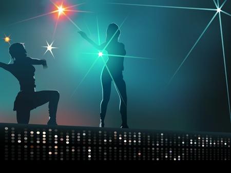 Dancing girls - Background Illustration  Vector